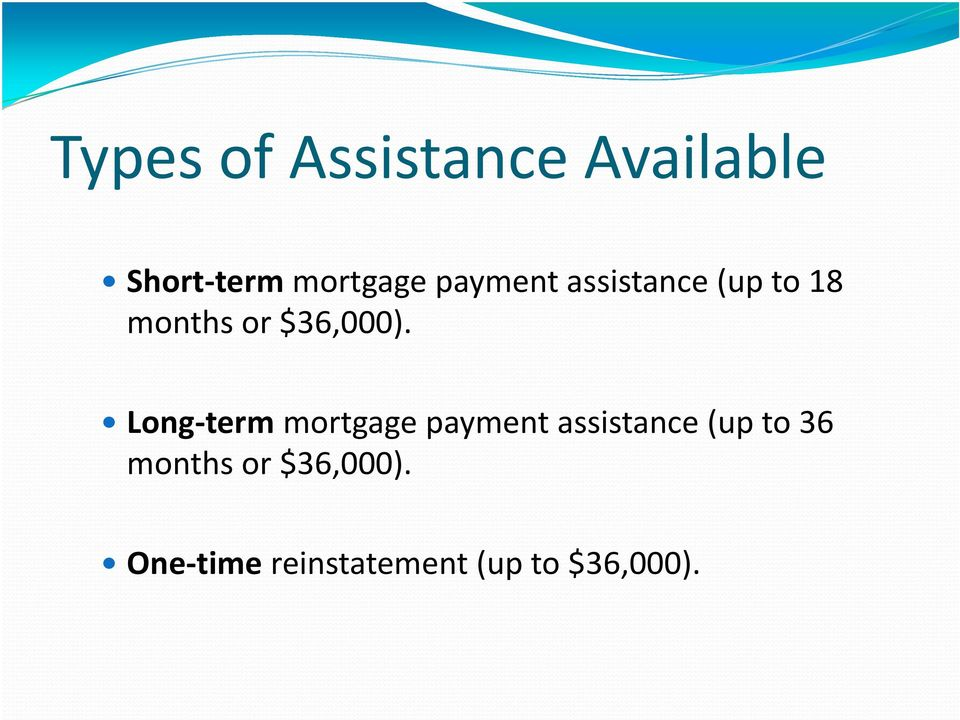 Long term mortgage payment assistance (up to 36
