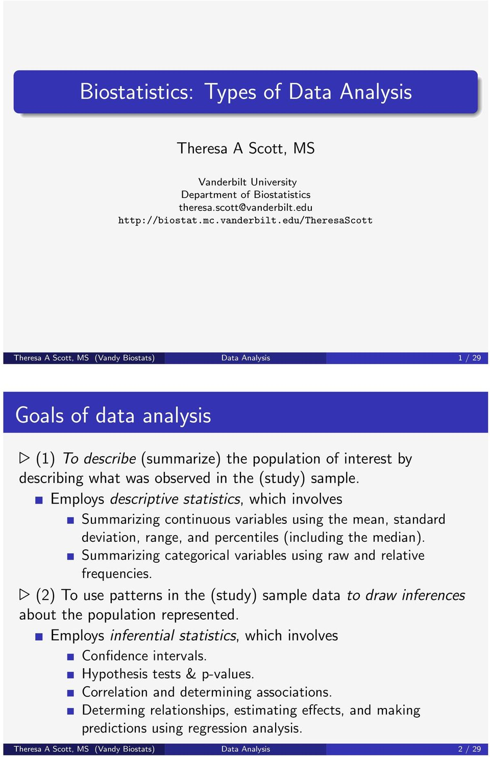 edu/theresascott Theresa A Scott, MS (Vandy Biostats) Data Analysis 1 / 29 Goals of data analysis (1) To describe (summarize) the population of interest by describing what was observed in the (study)