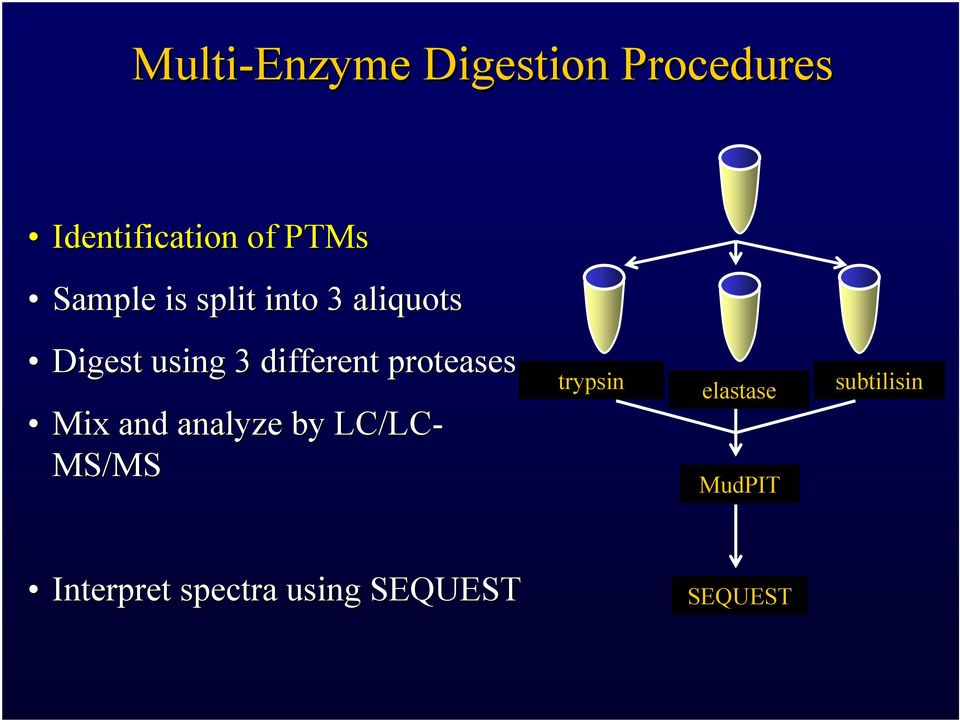 proteases Mix and analyze by LC/LC- MS/MS trypsin