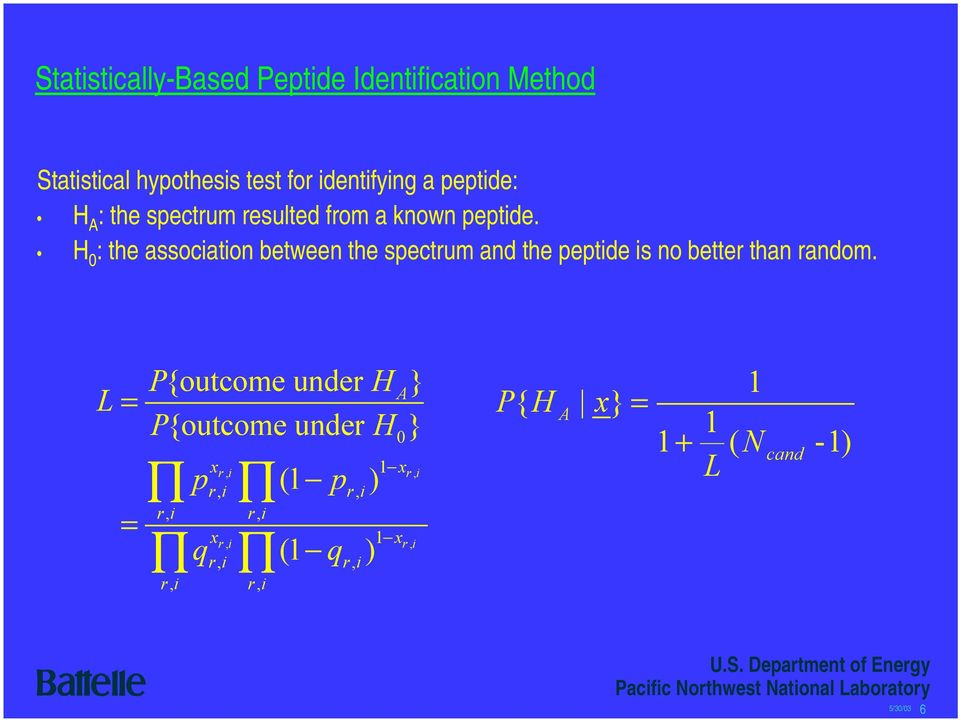 H 0 : the association between the spectrum and the peptide is no better than random.