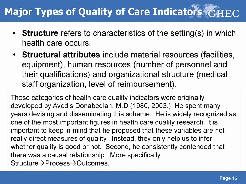 level of reimbursement). These categories of health care quality indicators were originally developed by Avedis Donabedian, M.D (1980, 2003.