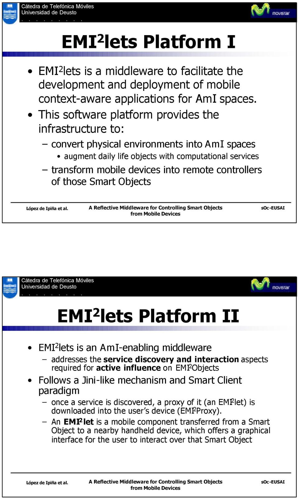 controllers of those Smart Objects EMI 2 lets Platform II EMI 2 lets is an AmI-enabling middleware addresses the service discovery and interaction aspects required for active influence on EMI 2
