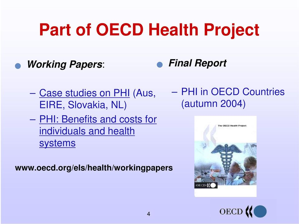 Countries (autumn 2004) PHI: Benefits and costs for