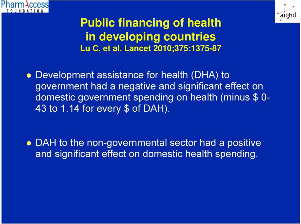 negative and significant effect on domestic government spending on health (minus $ 0-43 to