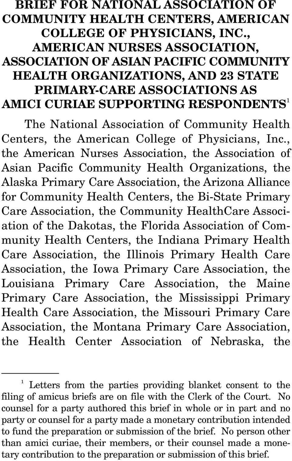 Community Health Centers, the American College of Physicians, Inc.