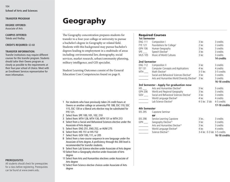 Geography The Geography concentration prepares students for transfer to a four-year college or university to pursue a bachelor s degree in Geography or related field.