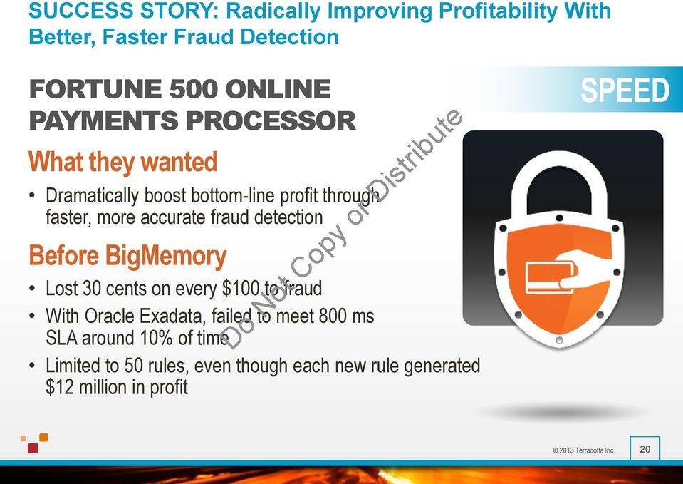 Before BigMemory Lost 30 cents on every $100 to fraud With Oracle Exadata, failed to meet 800 ms SLA around 10%