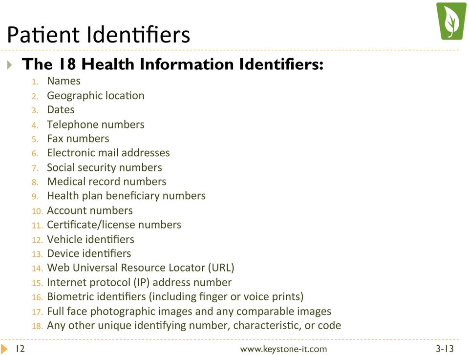 CerOficate/license numbers 12. Vehicle idenofiers 13. Device idenofiers 14. Web Universal Resource Locator (URL) 15.