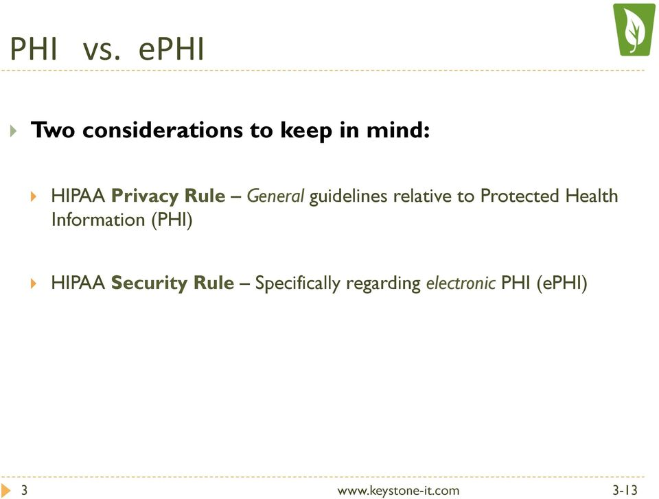 Privacy Rule General guidelines relative to