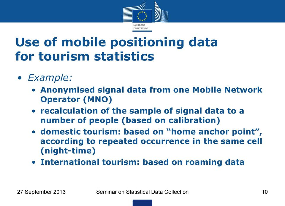 calibration) domestic tourism: based on home anchor point, according to repeated occurrence in the same