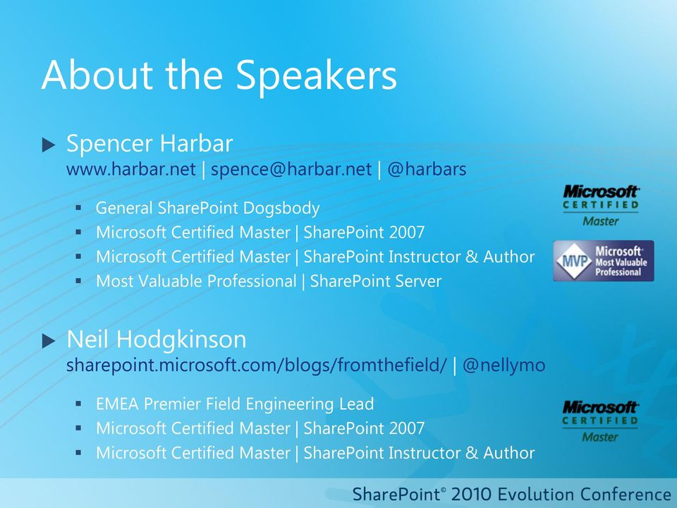SharePoint Instructor & Author Most Valuable Professional SharePoint Server Neil Hodgkinson sharepoint.microsoft.