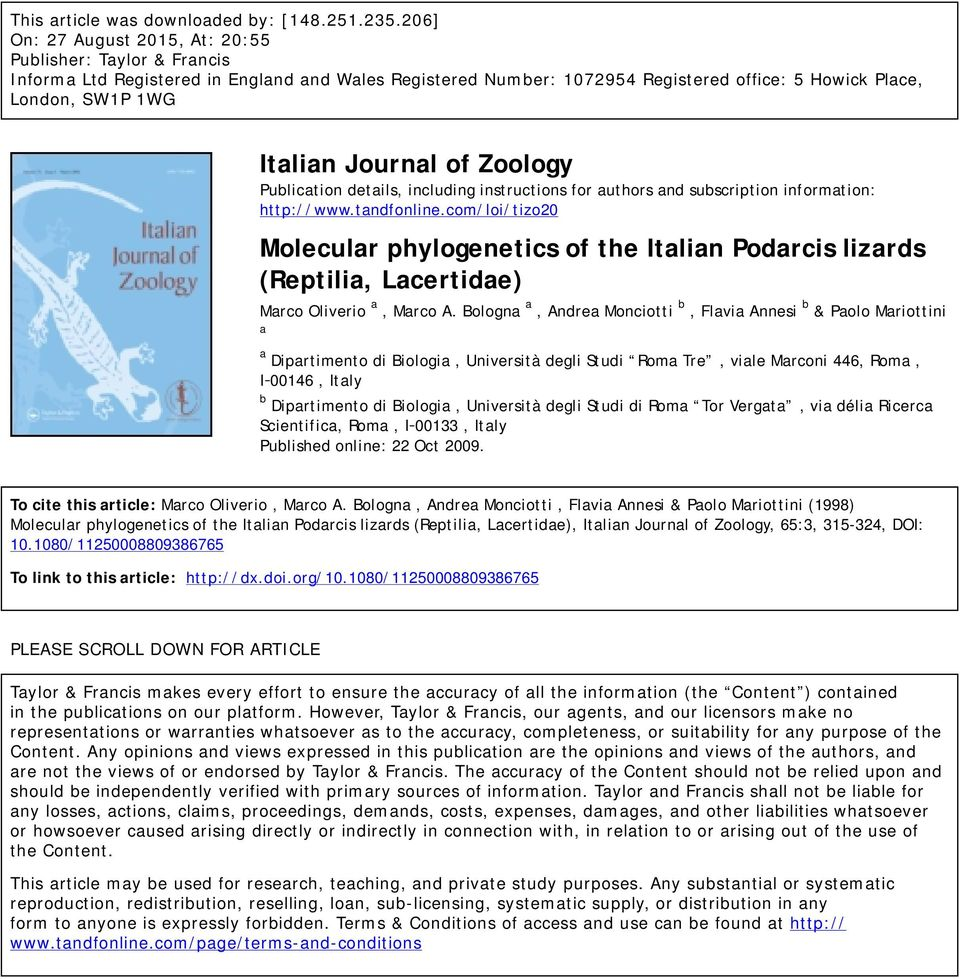Journal of Zoology Publication details, including instructions for authors and subscription information: http://www.tandfonline.