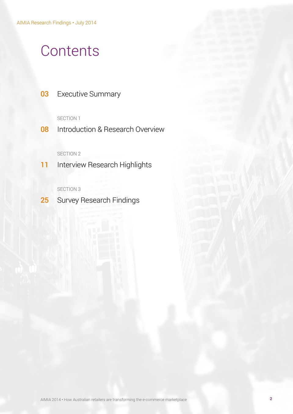Highlights SECTION 3 25 Survey Research Findings AIMIA 2014