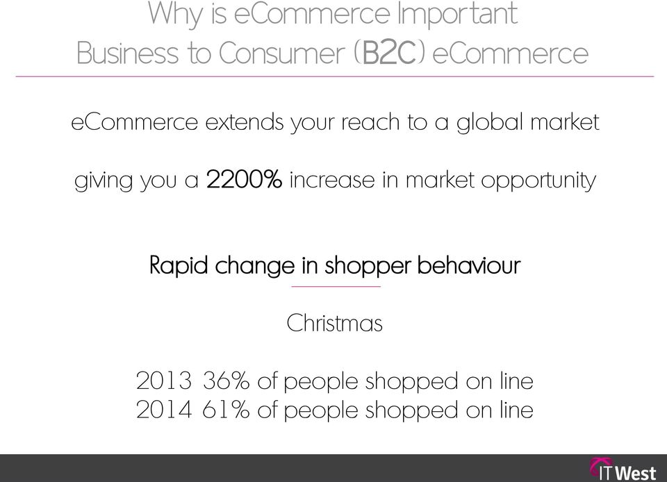 increase in market opportunity Rapid change in shopper behaviour