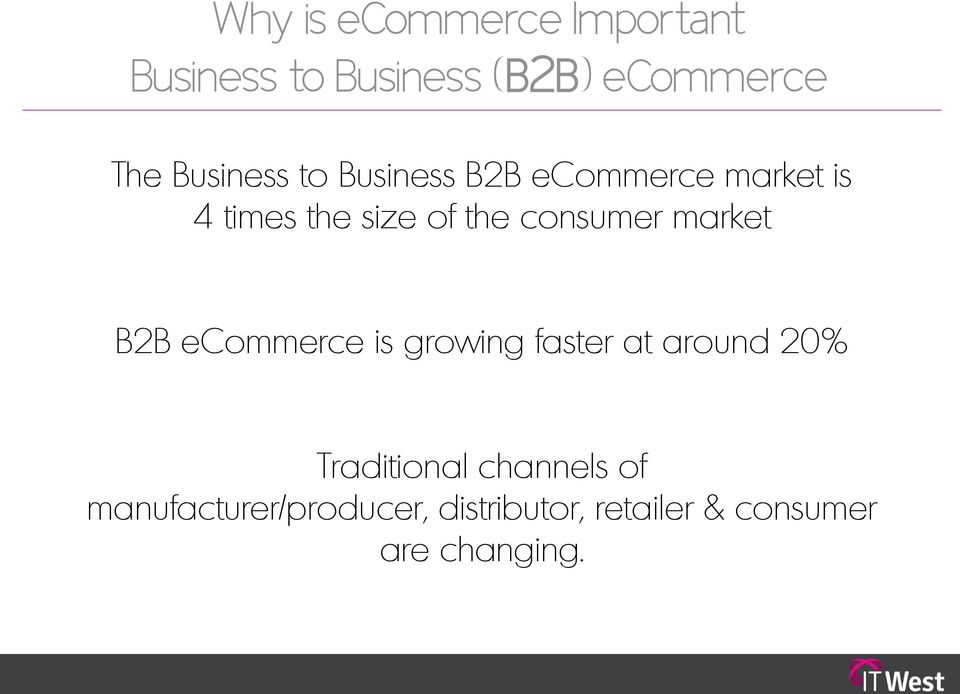 consumer market B2B ecommerce is growing faster at around 20%