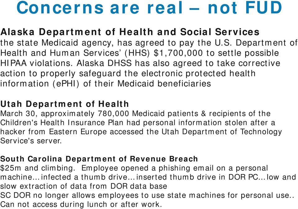 approximately 780,000 Medicaid patients & recipients of the Children's Health Insurance Plan had personal information stolen after a hacker from Eastern Europe accessed the Utah Department of