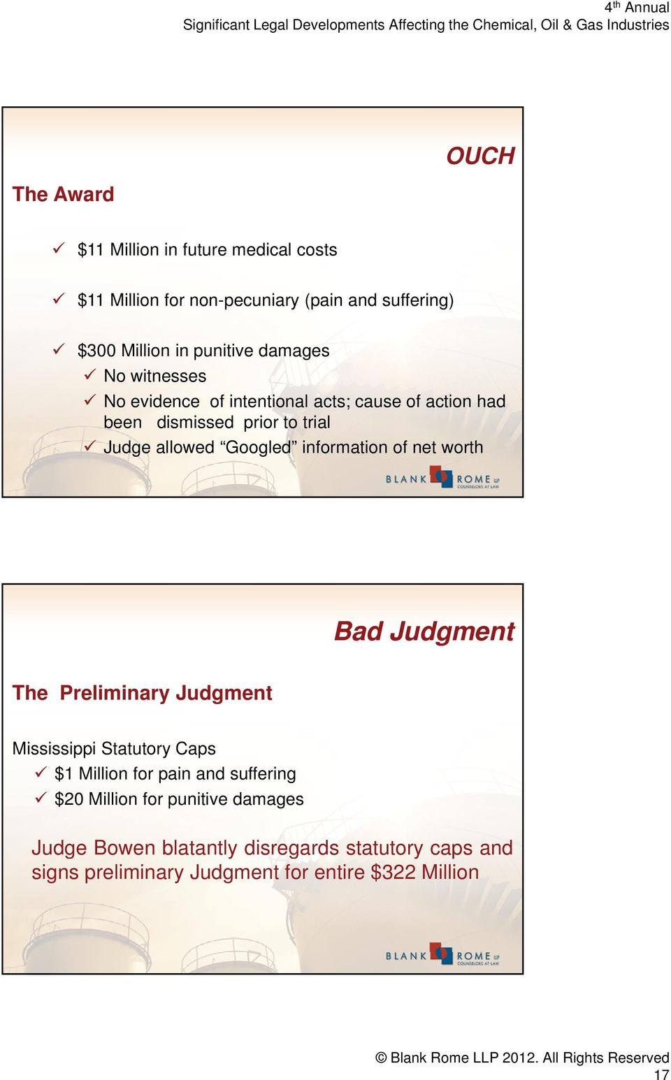 Bad Judgment The Preliminary Judgment Mississippi Statutory Caps $1 Million for pain and suffering $20 Million for punitive damages Judge