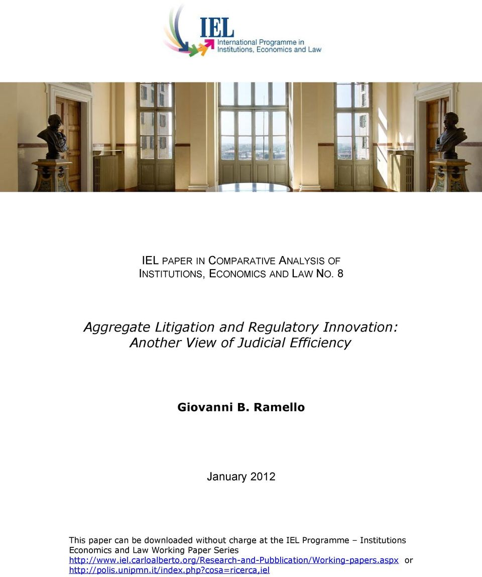 Ramello January 2012 This paper can be downloaded without charge at the IEL Programme Institutions Economics