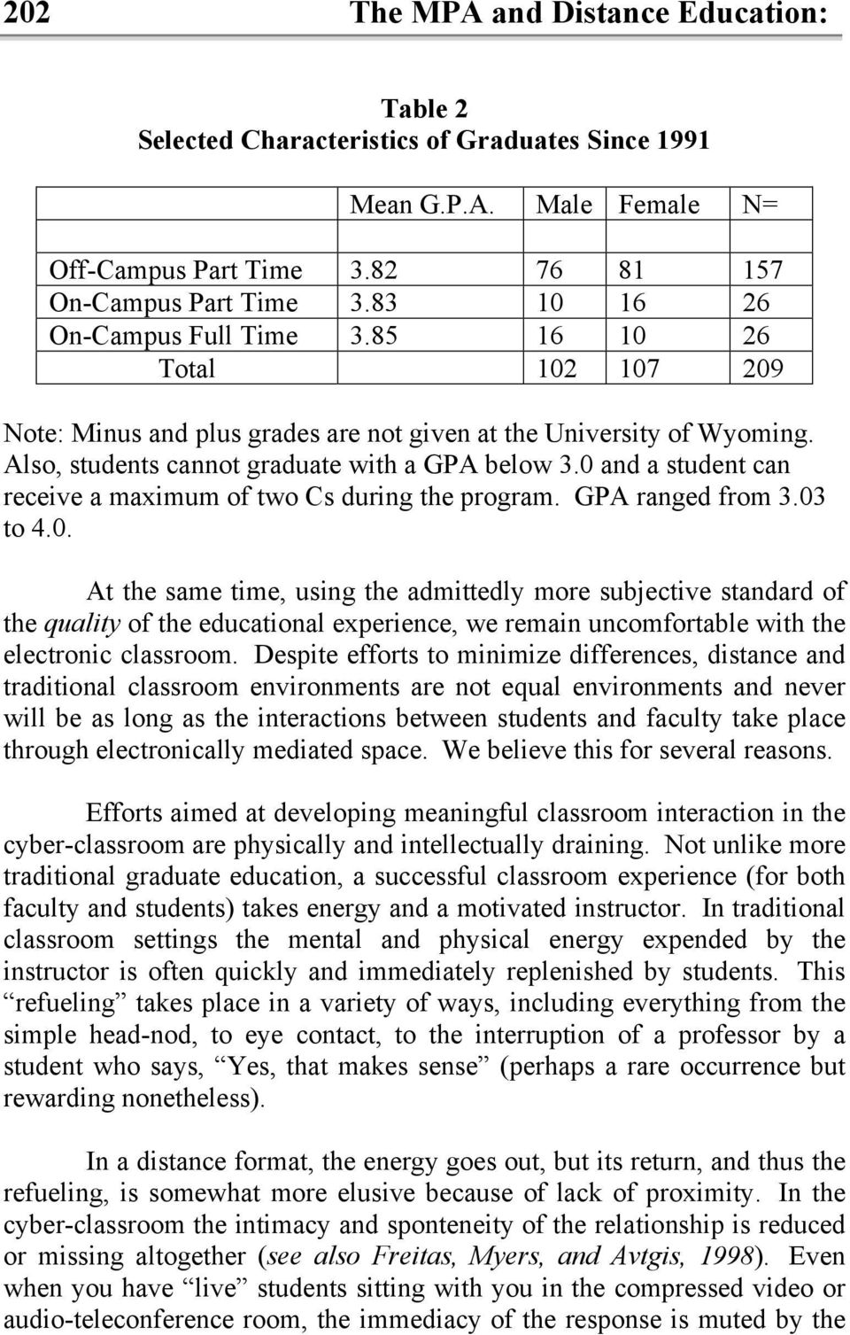 0 and a student can receive a maximum of two Cs during the program. GPA ranged from 3.03 to 4.0. At the same time, using the admittedly more subjective standard of the quality of the educational experience, we remain uncomfortable with the electronic classroom.