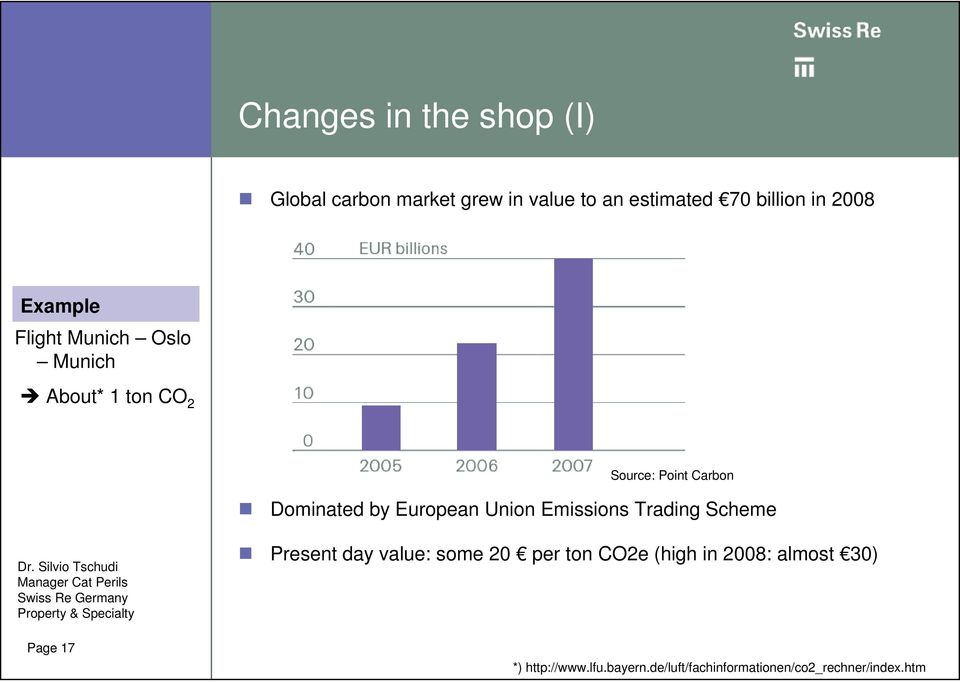 European Union Emissions Trading Scheme Page 17 Present day value: some 20 per ton CO2e