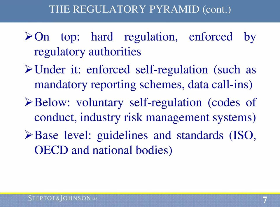 self-regulation (such as mandatory reporting schemes, data call-ins) Below: