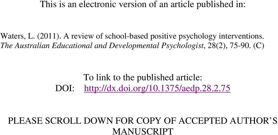 The Australian Educational and Developmental Psychologist, 28(2), 75-90.