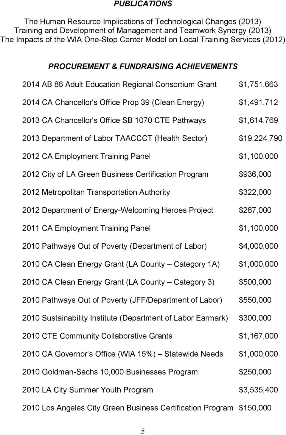 Chancellor's Office SB 1070 CTE Pathways $1,614,769 2013 Department of Labor TAACCCT (Health Sector) $19,224,790 2012 CA Employment Training Panel $1,100,000 2012 City of LA Green Business