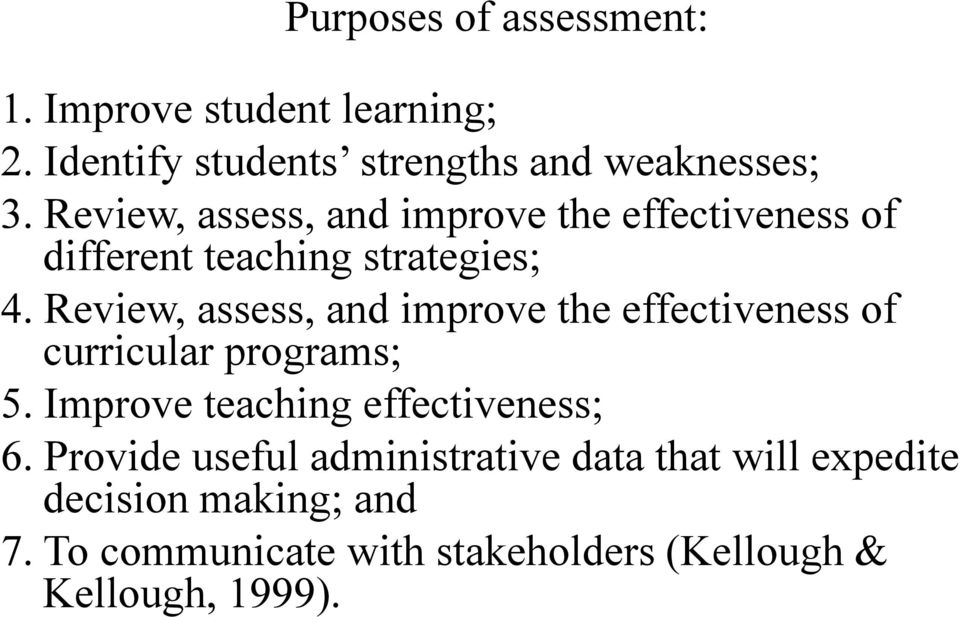 Review, assess, and improve the effectiveness of curricular programs; 5. Improve teaching effectiveness; 6.
