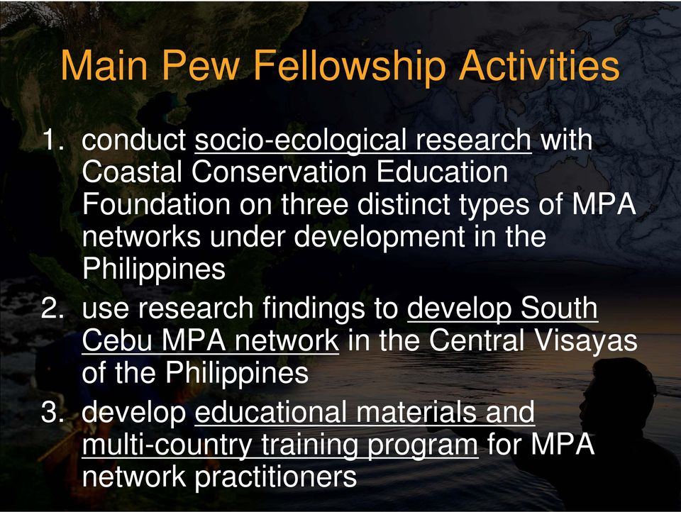 distinct types of MPA networks under development in the Philippines 2.