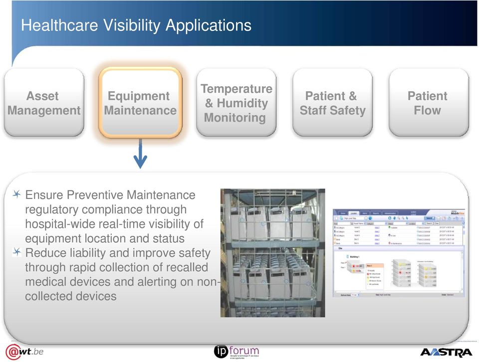 through hospital-wide real-time visibility of equipment location and status Reduce liability and