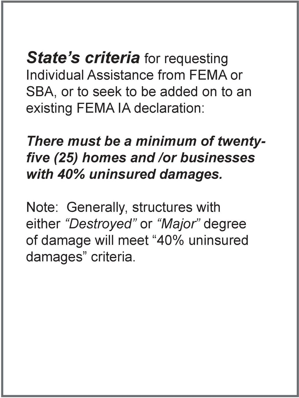 (25) homes and /or businesses with 40% uninsured damages.