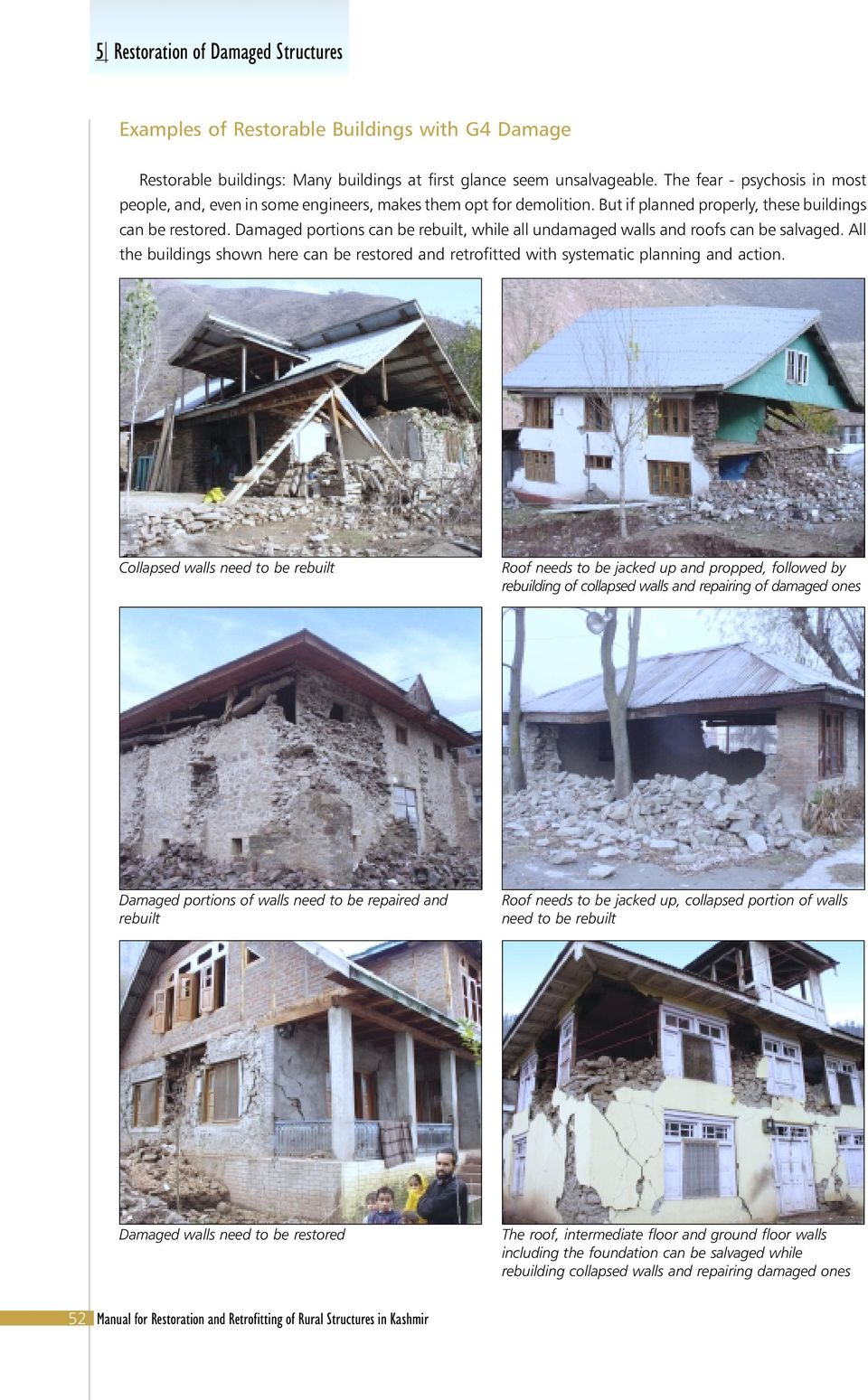 Damaged portions can be rebuilt, while all undamaged walls and roofs can be salvaged. All the buildings shown here can be restored and retrofitted with systematic planning and action.