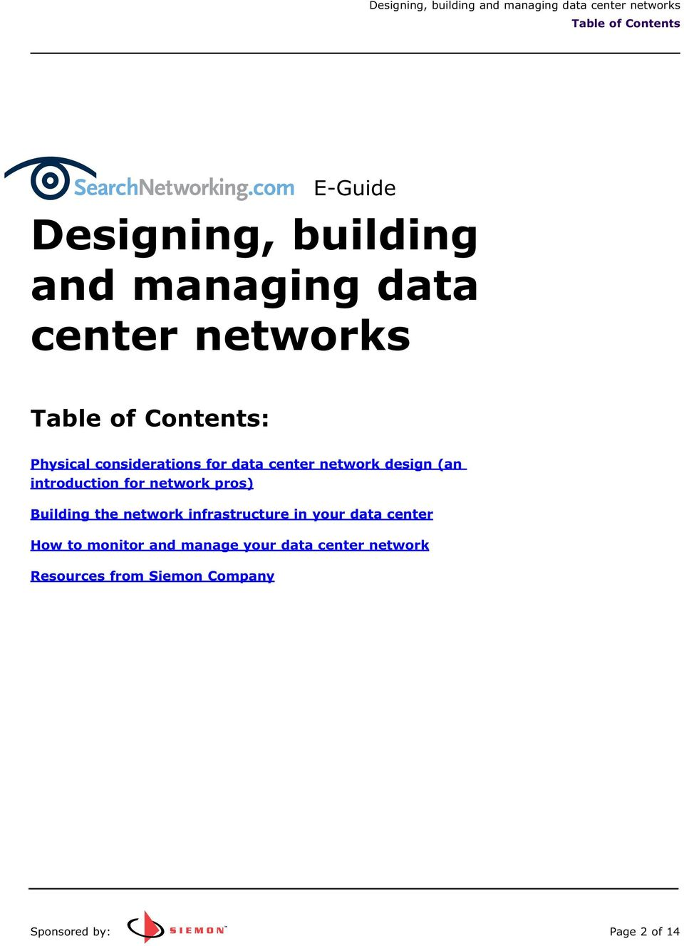 introduction for network pros) Building the network infrastructure in your data