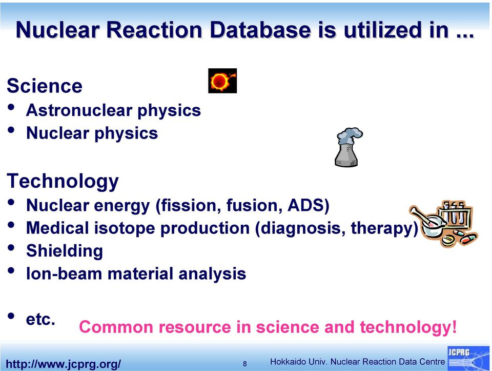 fusion, ADS) Medical isotope production (diagnosis, therapy) Shielding Ion-beam