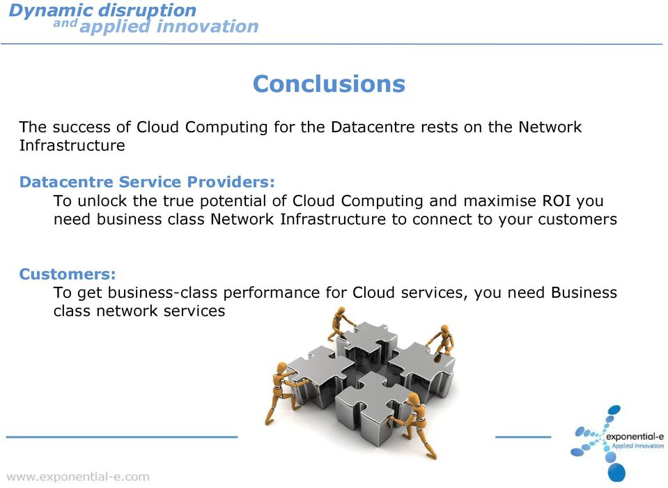maximise ROI you need business class Network Infrastructure to connect to your customers