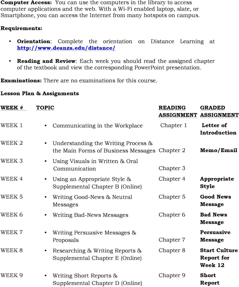 deanza.edu/distance/ Reading and Review: Each week you should read the assigned chapter of the textbook and view the corresponding PowerPoint presentation.