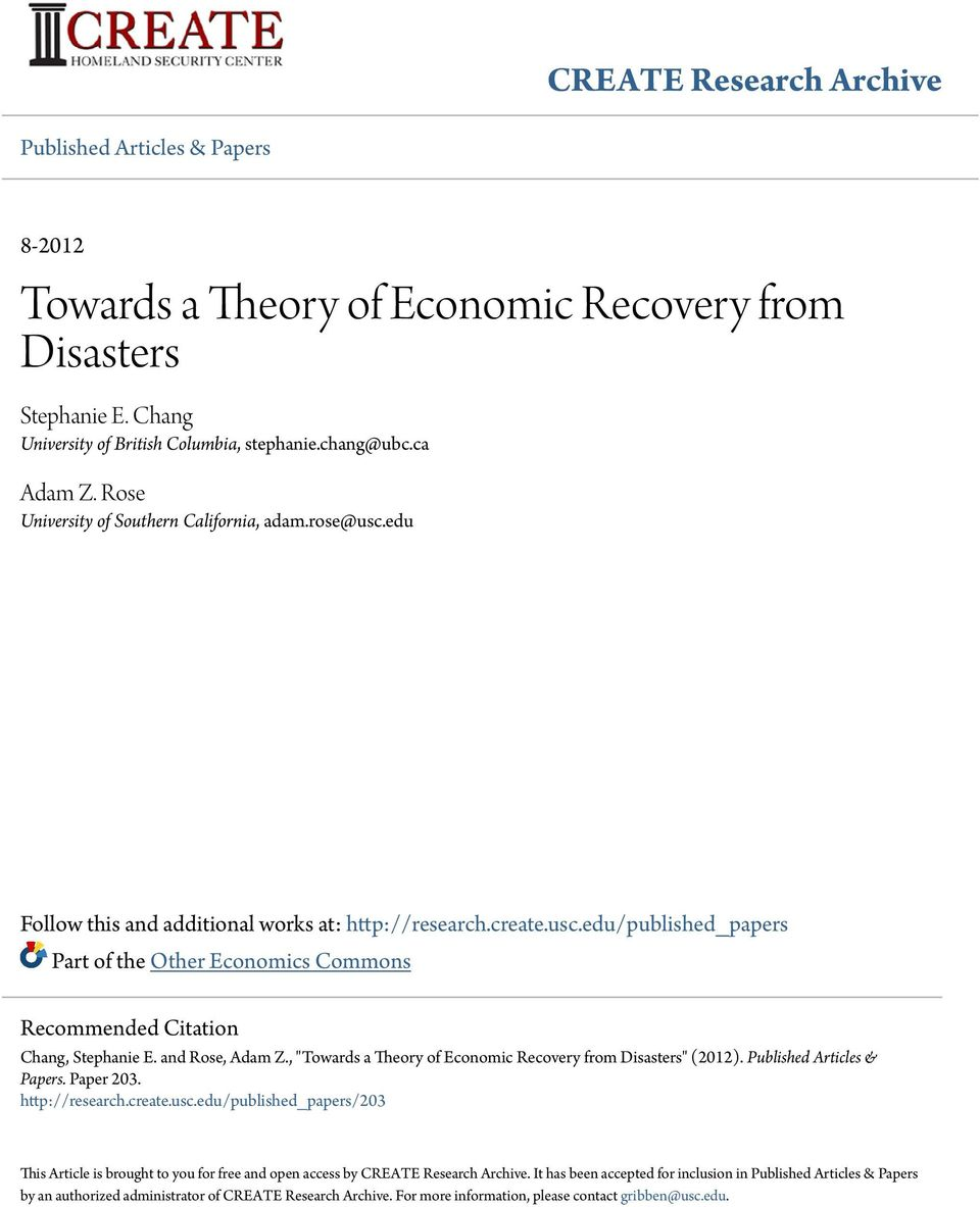 "and Rose, Adam Z., ""Towards a Theory of Economic Recovery from Disasters"" (2012). Published Articles & Papers. Paper 203. http://research.create.usc."