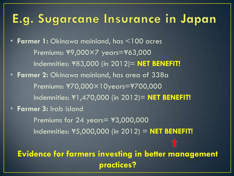 Farmer 2: Okinawa mainland, has area of 338a Premiums: 70,000 10years= 700,000 Indemnities: 1,470,000