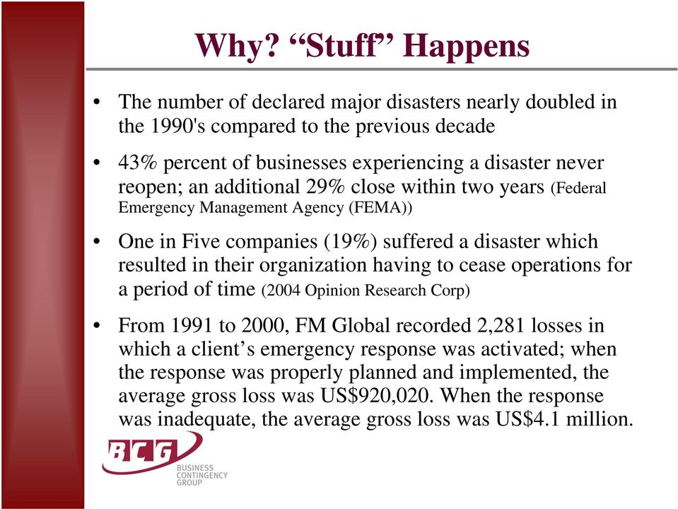 organization having to cease operations for a period of time (2004 Opinion Research Corp) From 1991 to 2000, FM Global recorded 2,281 losses in which a client s emergency