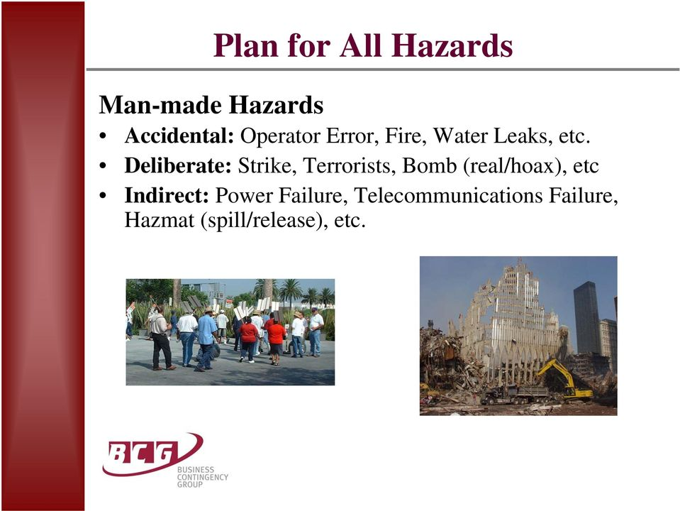 Deliberate: Strike, Terrorists, Bomb (real/hoax), etc
