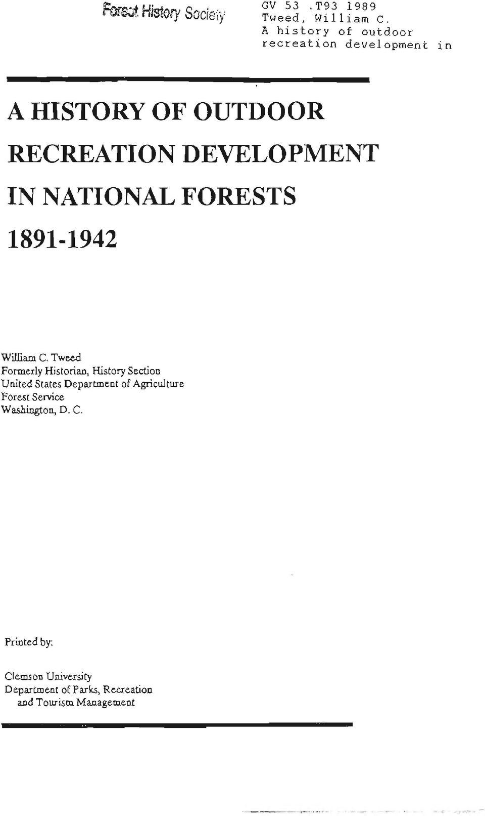 IN NATIONAL FORESTS 1891-1942 William C.