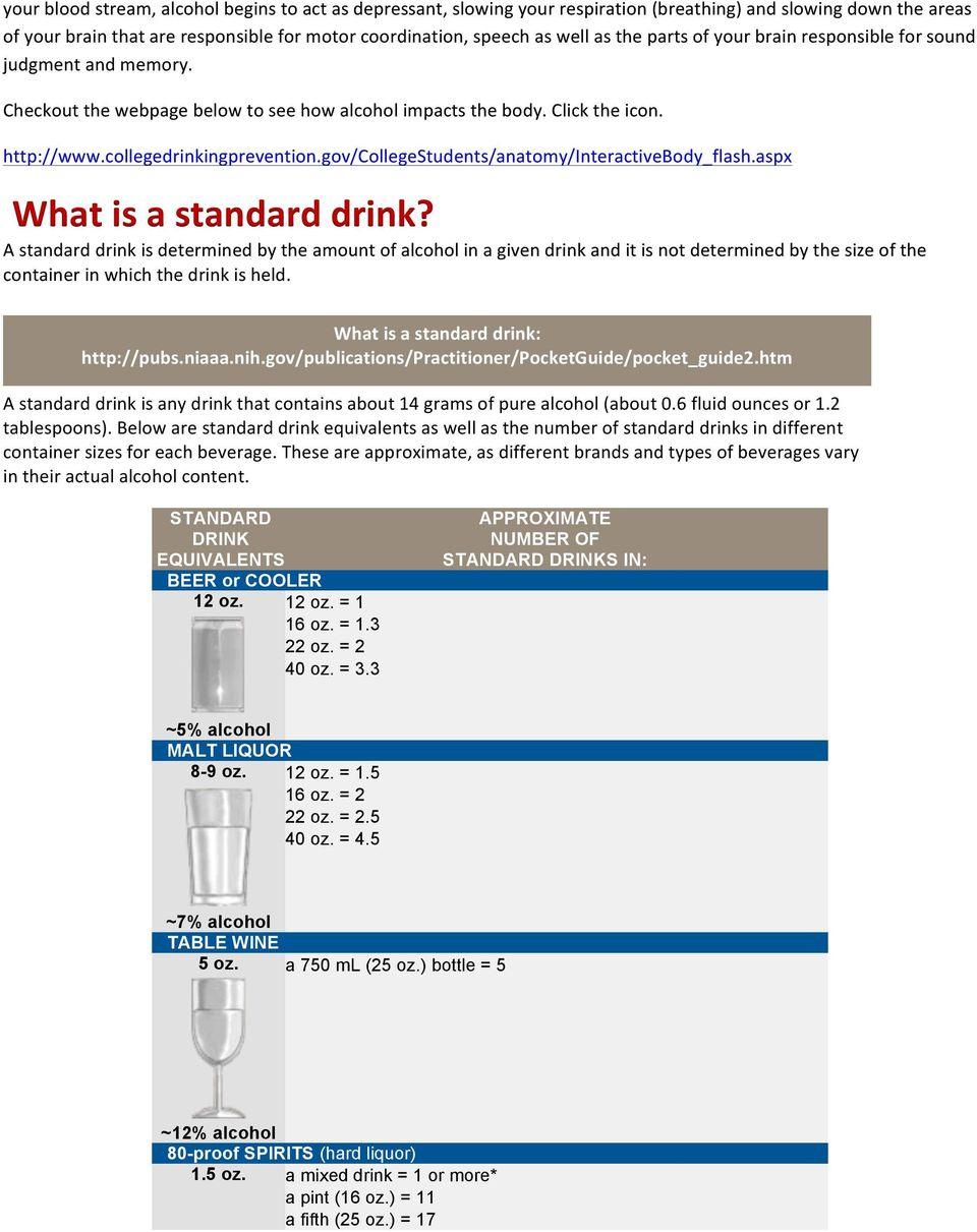 gov/collegestudents/anatomy/interactivebody_flash.aspx What is a standard drink?