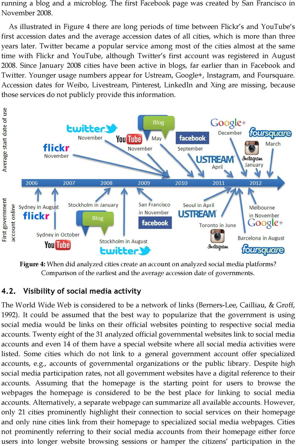 Twitter became a popular service among most of the cities almost at the same time with Flickr and YouTube, although Twitter s first account was registered in August 2008.