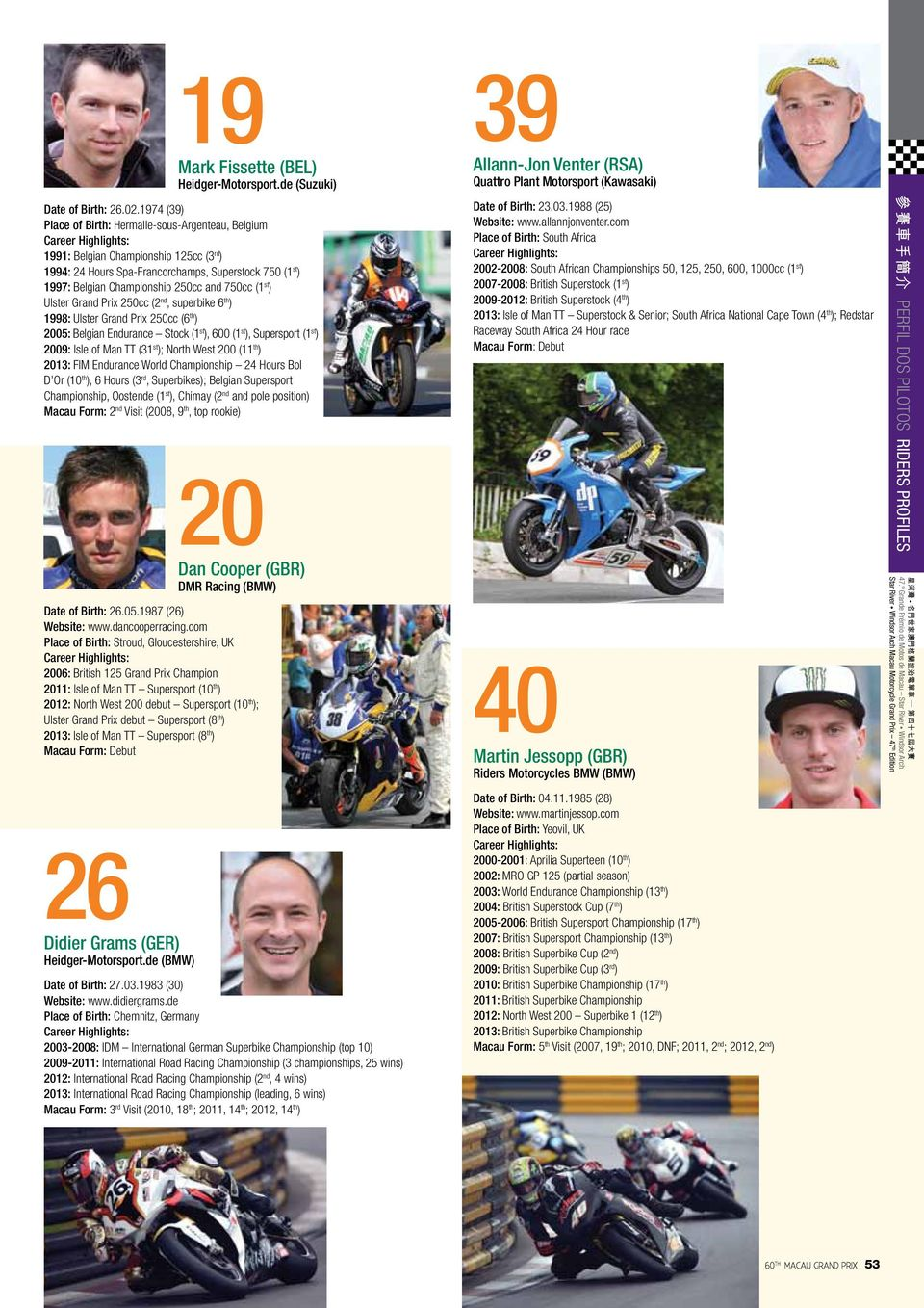 (1 st ) Ulster Grand Prix 250cc (2 nd, superbike 6 th ) 1998: Ulster Grand Prix 250cc (6 th ) 2005: Belgian Endurance Stock (1 st ), 600 (1 st ), Supersport (1 st ) 2009: Isle of Man TT (31 st );