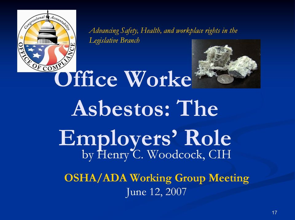 Asbestos: The Employers Role by Henry C.