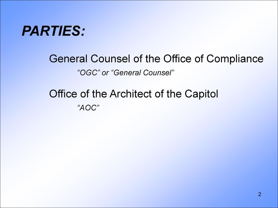 or General Counsel Office of