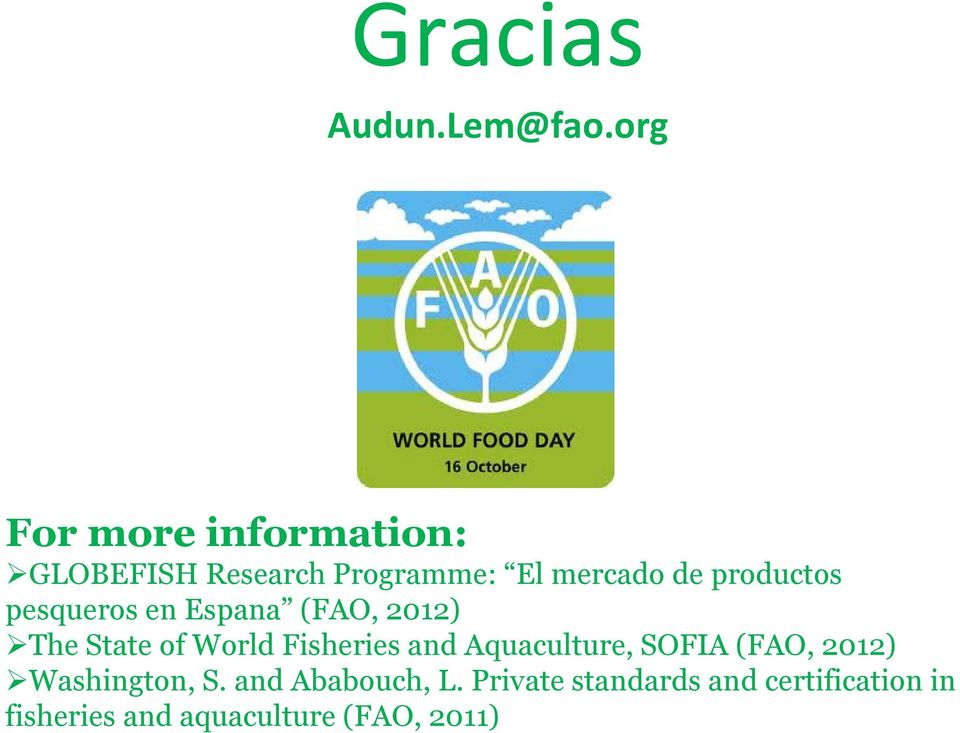 productos pesqueros en Espana (FAO, 2012) The State of World Fisheries and