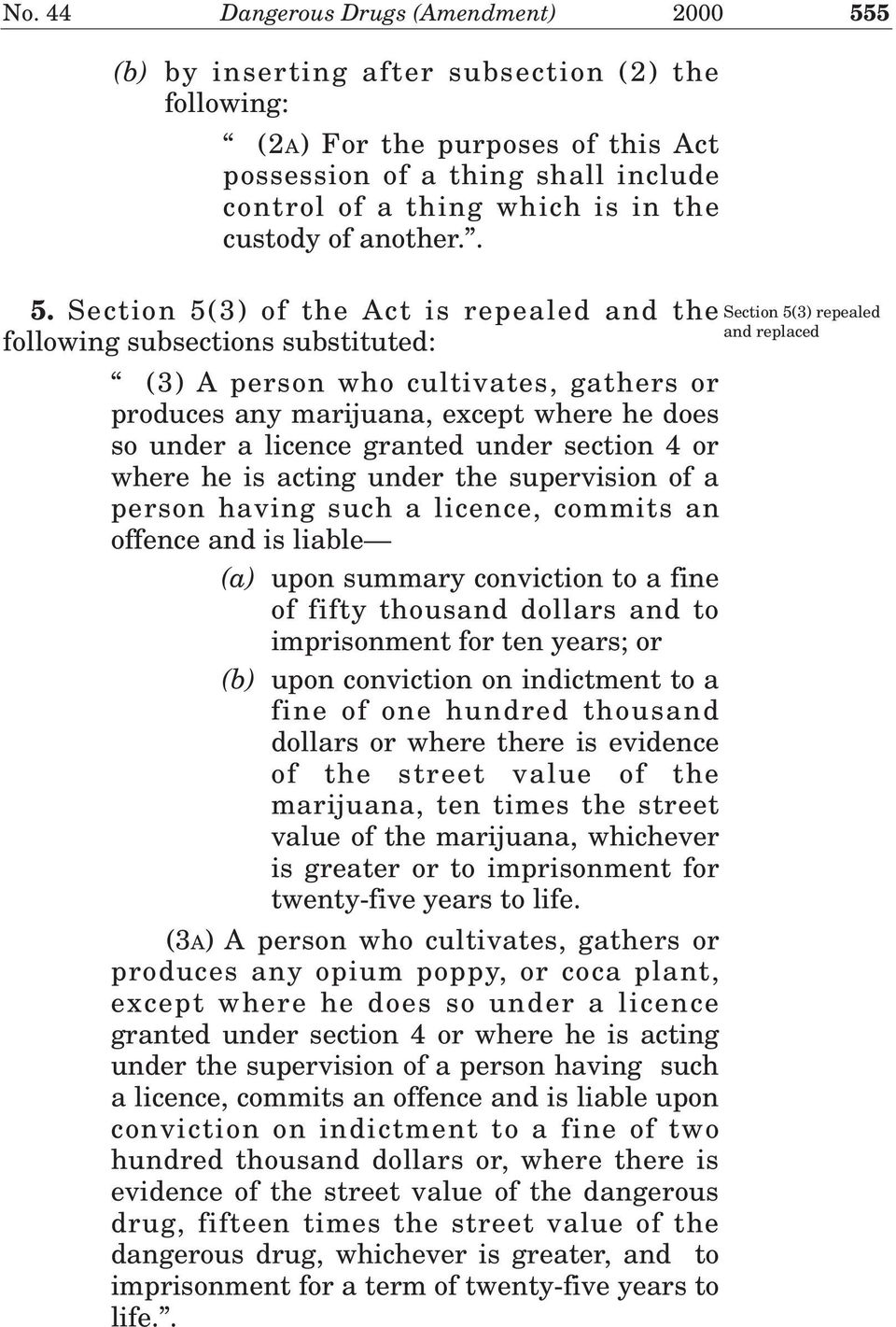 Section 5(3) of the Act is repealed and the following subsections substituted: (3) A person who cultivates, gathers or produces any marijuana, except where he does so under a licence granted under