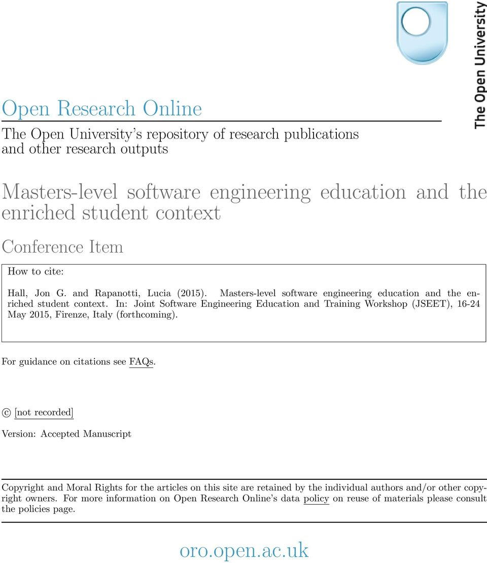 In: Joint Software Engineering Education and Training Workshop (JSEET), 16-24 May 2015, Firenze, Italy (forthcoming). For guidance on citations see FAQs.