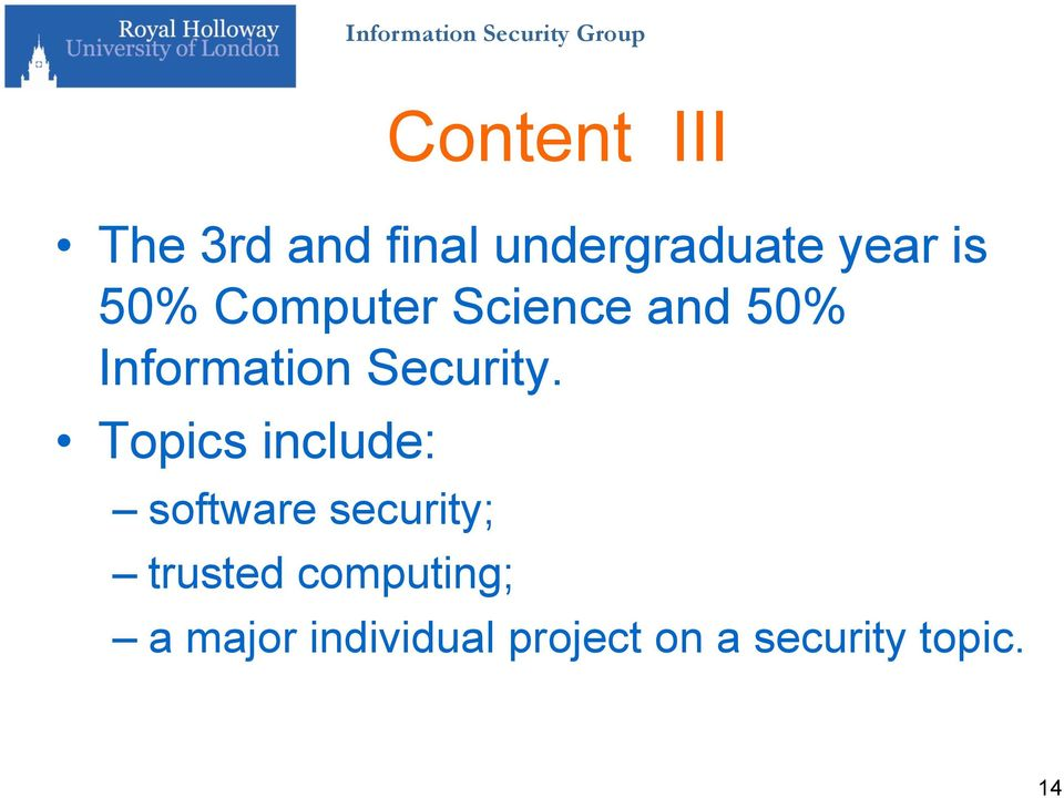 Topics include: software security; trusted